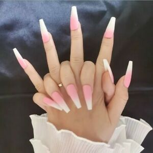 Matte Ombre Long Coffin Ballerina Nude Pink white Fake False Press On Nails