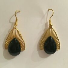 ELEGANT art deco style VINTAGE BLACK GLASS TEARDROP GOLD PLATED EARRINGS hook