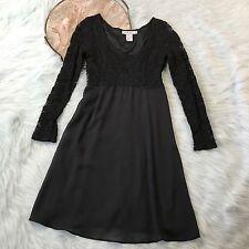 Vtg 90s Rampage Babydoll Dress Black Lace Long Sleeve Size 6 7 Grunge H24