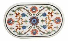 """36"""" x 24"""" Center Coffee Table Top Marble Inlay Floral Pietra dura Work"""