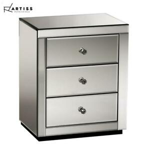 Artiss Mirrored Bedside Tables Table Drawers Chest Nightstand Glass Furniture