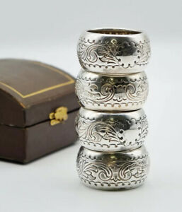 Antique Box Set Of Four Sterling Silver Napkin Rings, Hallmarked 1911 Birmingham