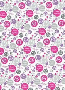 2 Sheets 65th Birthday Wrapping Paper Age 65 Gift Wrap Female Pink & White (PA)