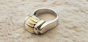 Lagos Caviar 18K Yellow Dome Gold & Sterling Silver Ring Size 7 Excellent Cond.