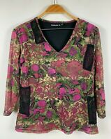 Cordelia St Womens Top Size 14 Long Sleeve Pink Floral Design Good Condition
