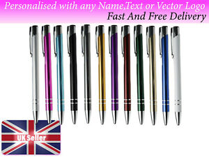 Personalised metal pen any name logo text 12 colours to choose from