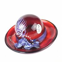 Fenton Glass Red Hat With Bow Hand Painted & Signed Christine Fenton