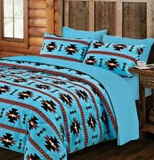 SOUTHWESTERN TURQUOISE 7pc Queen COMFORTER & SHEET SET :  BLUE NATIVE TRIBAL