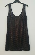 WISH womens black sequinned mini dress size 8 sexy party dress sparkling #124