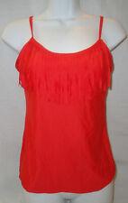 ATHENA Solid Fringe Red/Orange Sunset Tankini Top Swimsuit,Shelf Bra/Padding,10