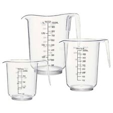 3 Sizes Measuring Jug Clear Plastic Grip Baking Kitchen Set Flour Sugar Water