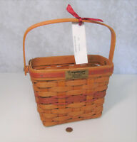 """Longaberger 1989 HOLIDAY MEMORY 9"""" BASKET w/Handle Christmas Collection Red GUC!"""