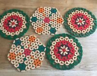 Vintage Set Wooden Bamboo Bead Table Place Mats Trivets Mid Century X 5 VGC