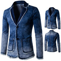 Men's Casual Outwear Suit water washes Denim Jeans Hooded Jacket Slim Coat