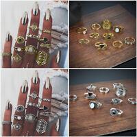 New Bohemian Vintage Women 10Pcs Gold Silver Ring Set Ethnic Boho Finger Rings