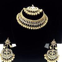 Gold Plated Bridal Indian Choker Jewelry Kundan Necklace Earrings Tikka-