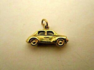 Vintage Hallmarked 9ct Gold Charm Bracelet Pendant  Old Motor Car