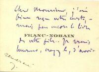 🌓 FRANC-NOHAIN carte de visite autographe signéeÉcole fantaisiste Carco 1919