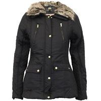 Ladies Parka Jacket Womens Brave Soul Coat Padded Hooded Fur BELT Lined Winter