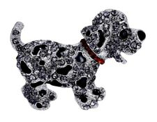 Black Silver Crystal Puppy Dog Brooch Pin Gift Women Ladies Dress Animal Jewelry