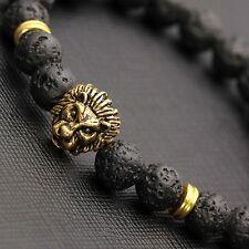 Fashion Black Lava Stone Beads Gold Lion Beaded Cuff  Bangle Bracelet Jewelry