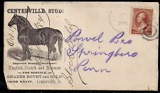 1880s Horse Illustrated Advertising Cover - Centerville Stud! - Iowa to Penn