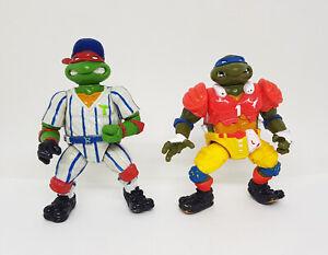 TMNT Vintage Sports Turtles Figure Lot Raphael & Leonardo 1991 Playmates