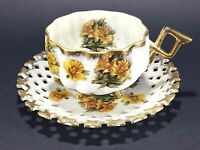 Napco Japan Yellow Floral Gold Trim Iridescent Tea Cup and Reticulated Saucer