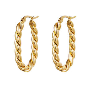 18ct Gold-Plated Twisted Oval Hoop Earrings