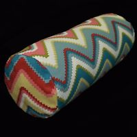 LL403g Red Khaki Pink Teal Blue Grey Zig Zag Cotton Yoga Bolster Cushion Cover