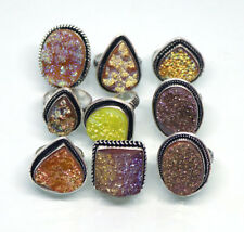 Exclusive !! 10 PCs Yellow Coated Druzy .925 Silver Plated Gemstone Rings Lot.