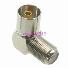 1pce Adapter Connector F TV female to IEC PAL DVB-T female 90° for Radio Antenna
