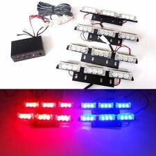 12V 9 LED 4 BAR ROSSO & BLU AUTO LAMPEGGIANTE DI EMERGENZA griglia di ripresa LUCE STROBOSCOPICA UK
