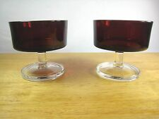 Cavalier Ruby Red 2 Sherbet Champagne Glasses Clear Smooth Stem France Luminarc