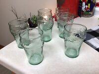 """7 MINI COCA-COLA COKE SMALL GREEN  GLASSES 4"""" GLASS"""