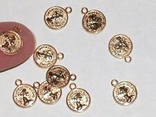 2pc Miniature dollhouse tiny little Gold plated Coin charms flat backs 6x8mm