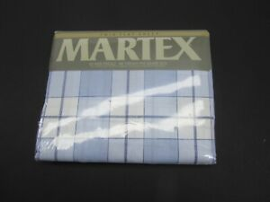 VTG Martex Twin Flat Sheet No Iron Percale 180 Blue Plaid Harvard Square New