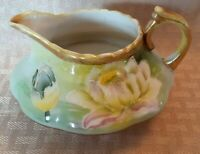 Antique I E C & Co Japan Hand Painted 1885 - 1905 Green Floral Creamer Pitcher