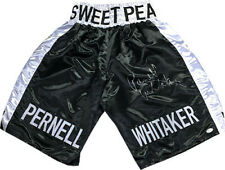 Pernell Whitaker signed Sweet Pea Black Satin Boxing Trunks XL - JSA Witnessed