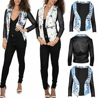 Ladies Womens Floral PVC Sleeve Printed Open Waterfall Side Pockets Long Jacket