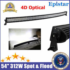 54inch Curved 312W LED Light Bar SPOT FLOOD Truck Boat Roof Rack 4WD 4D Optic 52