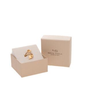 RRP €195 GIULIA BARELA 24K Gold Plated Leaf Ring UK K US 5 HANDMADE in Italy