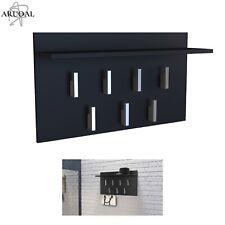 ARUOAL Black Wall-Mounted Coat Jacket Handbag 7 Hook Hanger & Top Shelf