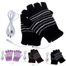 Women USB Electric Heated Gloves Winter Thermal Hand Warmer Fingerless Mittens