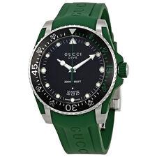 Gucci Dive Black Diacl Green Rubber Mens Watch YA136310