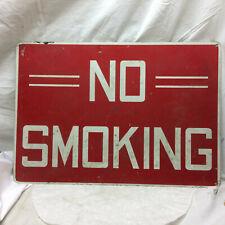 """Vintage NO SMOKING Sign Painted Steel Metal 20"""" X 14"""""""