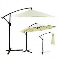 Beige Patio Umbrella Offset 10' Hanging Umbrella Outdoor Market Umbrella D10