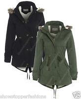 NEW Womens FLEECE LINED PARKA Ladies JACKET COAT FISHTAIL Size 10 12 14 16 Fur