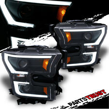 [Plank Style] 2015 2016 2017 Ford F-150 Black LED Bar Projector Headlights Pair