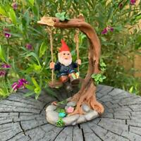 Garden Gnomes Statue Gnome on Tree Swing Fairy Garden Décor Figurine Ornaments